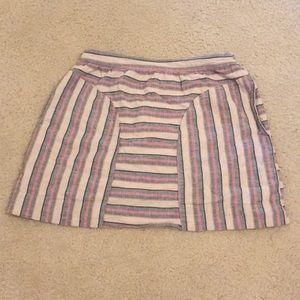 Modcloth Gray and pink striped mini skirt